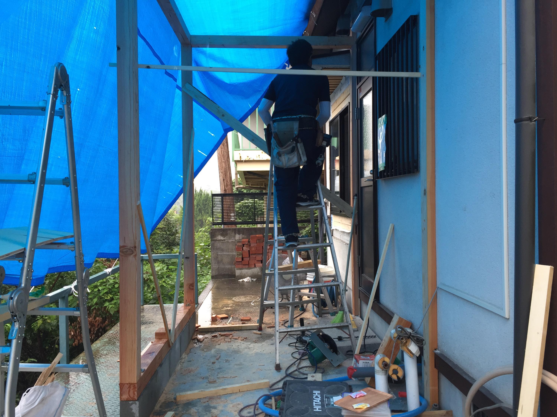 早島町増築工事 工事中の写真