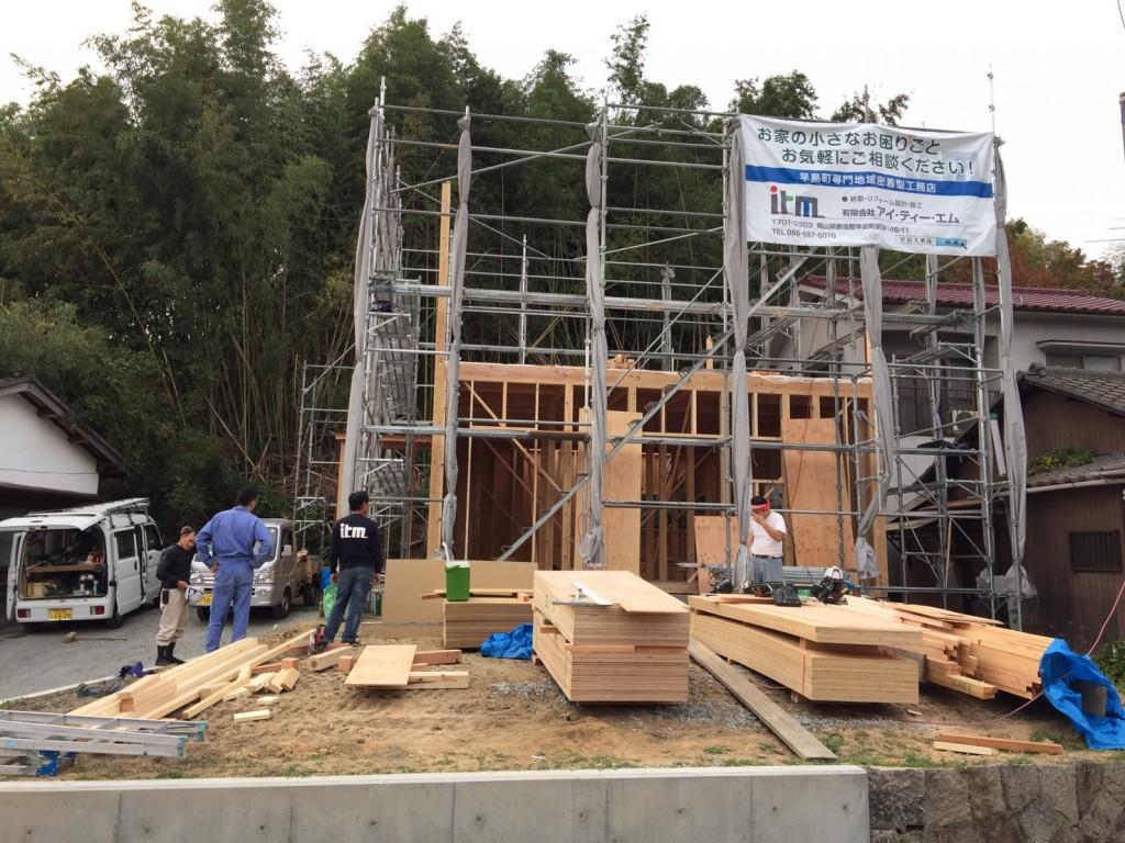早島町新築工事 上棟の写真①