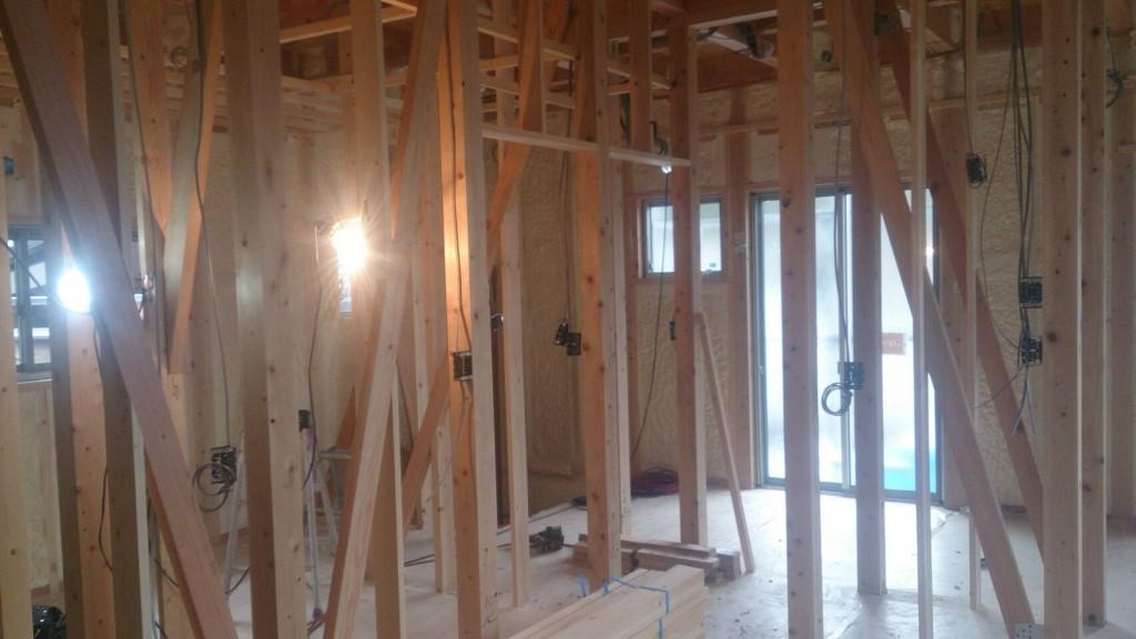 早島町新築工事 1階の工事中写真
