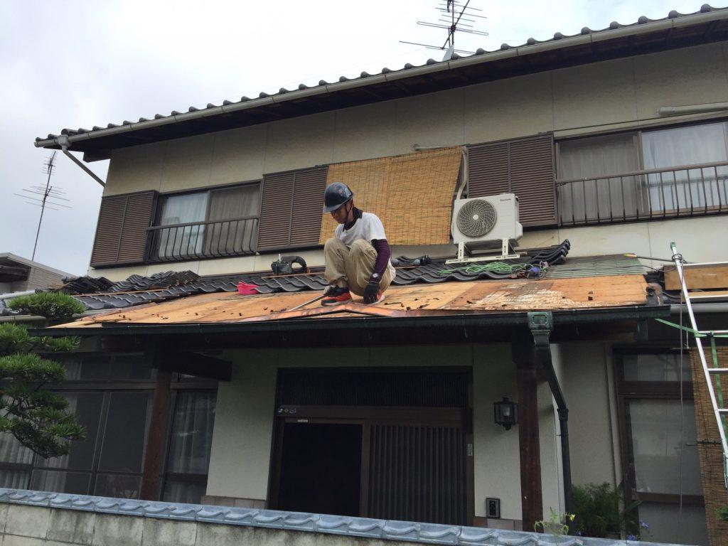 早島町屋根工事 工事中写真