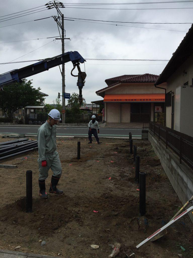 早島町店舗工事 杭工事の写真①