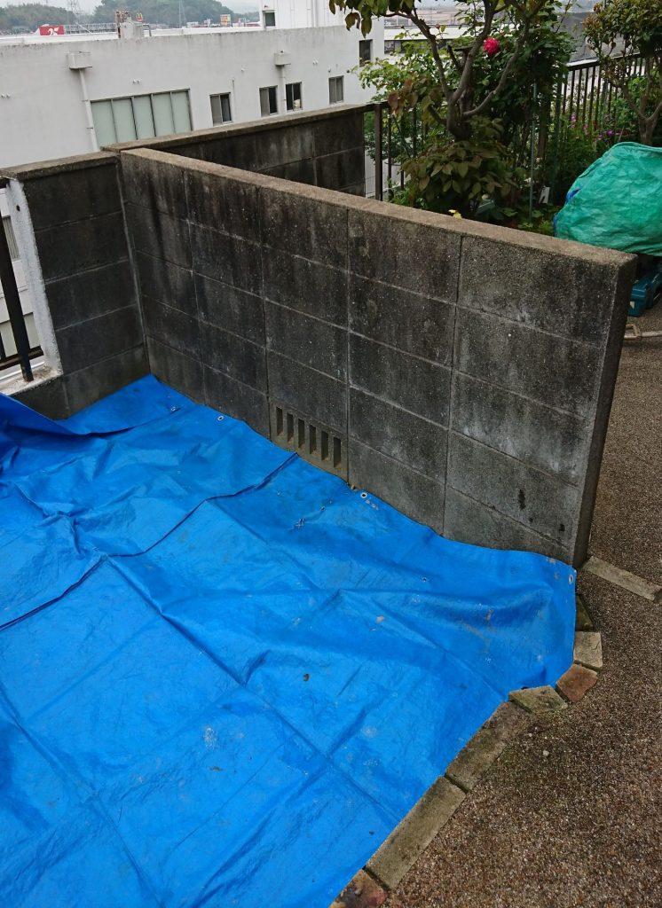 早島町ブロック塀解体工事①