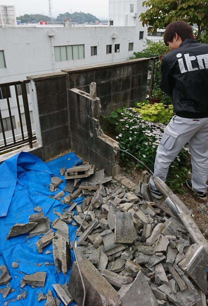 早島町ブロック塀解体工事②